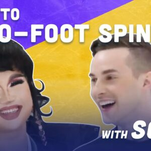 How To Two-Foot Spin While Ice Skating with Soju  | Adam Rippon
