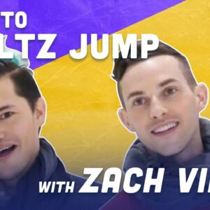 How To Waltz Jump While Ice Skating with American Horror Story's Zach Villa | Adam Rippon