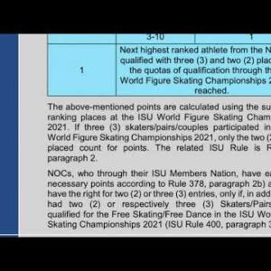 2022 Figure Skating Olympic Qualification Rule Explanation