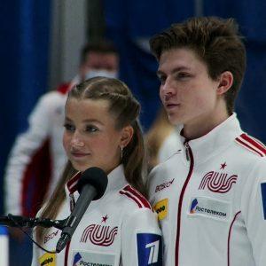 Winner Interview -Ice Dance Vasilisa Kaganovskaia/Valeriy Angelopol RUS  #JGPFigure